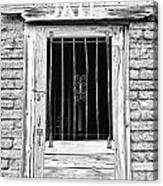 Old Jailhouse Door In Black And White Canvas Print