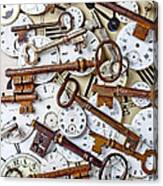 Old Keys And Watch Dails Canvas Print