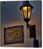 Old Lamp On A Colonial Building In Old Cartagena Colombia Canvas Print
