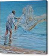 Old Man Casting Net Canvas Print