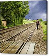 Old Man Walks Along Train Tracks Canvas Print