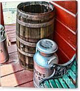 Old Milk Cans And Rain Barrel. Canvas Print