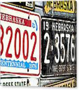 Old Nebraska Plates Canvas Print