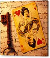 Old Playing Card And Key Canvas Print
