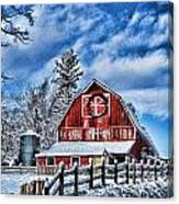 Old Red Barn Hdr Canvas Print
