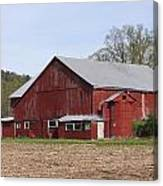 Old Red Barn With Short Silo Canvas Print