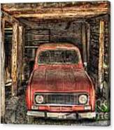 Old Red Car In A Wood Garage Canvas Print