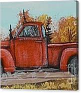 Old Red Truck Going Down The Road Canvas Print