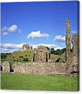 Old Ruins Of An Abbey With A Castle In Canvas Print