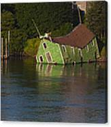 Old Shack Sinking  Canvas Print