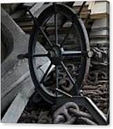Old Ships Wheel, Chains And Wood Planks Canvas Print