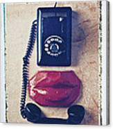 Old Telephone And Red Lips Canvas Print