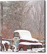 Old Truck Covered In Snow Canvas Print