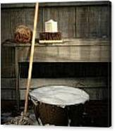 Old Wash Bucket With Mop And Brushes Canvas Print
