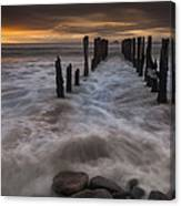 Old Wharf At Sunrise Saint Clair Beach Canvas Print