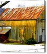 Old Yellow Barn Canvas Print