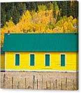 Old Yellow School House With Autumn Colors Canvas Print