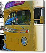 Old Yellow Transit Bus Abstract Canvas Print
