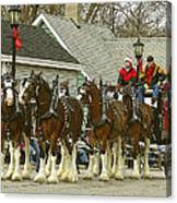 Olde Tyme Travel Clydesdales Canvas Print