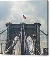 Ole Glory Over Brooklyn Bridge Canvas Print