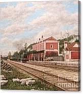 Oliveira Do Bairro Train Station Xix - Estacao Comboio De Oliveira Do Bairro Portugal Canvas Print