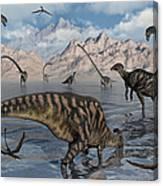 Omeisaurus And Parasaurolphus Dinosaurs Canvas Print