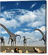 Omeisaurus Dinosaurs Are Startled Canvas Print