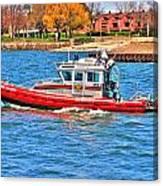On Patrol At The Erie Basin Marina  Canvas Print