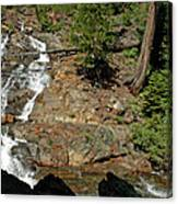 On The Rocks Glen Alpine Creek And Falls Canvas Print