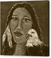 Onawa Native American Woman Of Wisdom With Eagle In Sepia Canvas Print