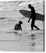 One Surfer And His Dog Canvas Print