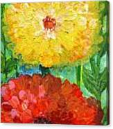 One Yellow One Red And Orange Flower Shines Canvas Print