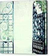 Open Iron Gate In Fog Canvas Print