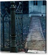 Open Iron Gate To Old House Canvas Print