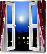 Open Window At Night Canvas Print