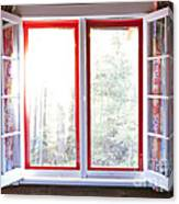 Open Window In Cottage Canvas Print