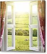 Open Window With Countryside View Canvas Print
