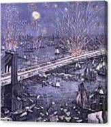 Opening Of The Great New York And Brooklyn Bridge And Grand Display Of Fire Works Canvas Print