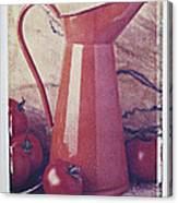 Orange Pitcher And Tomatoes Canvas Print