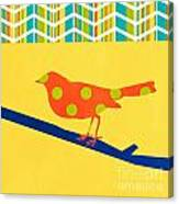 Orange Polka Dot Bird Canvas Print