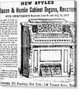 Organ Ad, 1870 Canvas Print