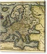 Ortelius's Map Of Europe, 1570 Canvas Print
