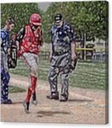 Ouch Baseball Foul Ball Digital Art Canvas Print