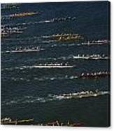 Outrigger Canoes Race From Molokai Canvas Print