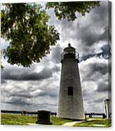 Overcast Clouds At Turkey Point Lighthouse Canvas Print