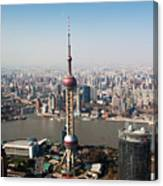 Overhead View Of Oriental Pearl Tower In Shanghai Canvas Print