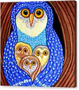 Owl And Owlettes Canvas Print