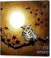 Owl In Maple Leaves Canvas Print