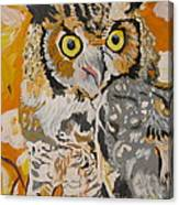 Owl In The Fall Canvas Print