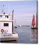 Oyster Boat On The River  Canvas Print